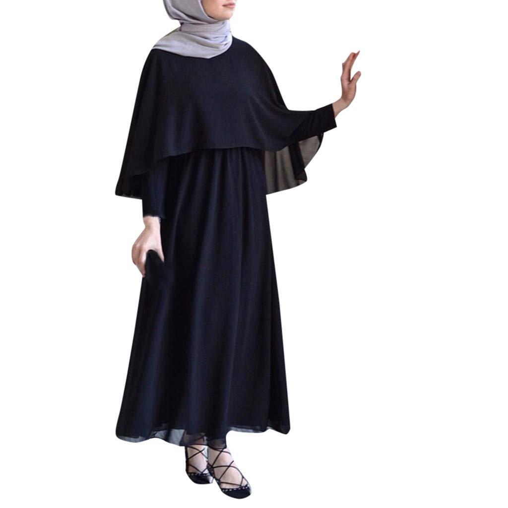 Clearance!Muslim Women Vintage Abaya Cloak Robes Arab Jilbab Muslim Ramadan Robe Islamic Kaftan Dubai Maxi Dress XL (Black, XL) by PaJau