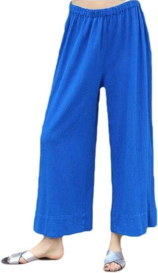 Fly Year-JP レディース カジュアル ルーズ リネン 伸縮性 ウエスト パンツ ズボン ワイド レッグ パンツ