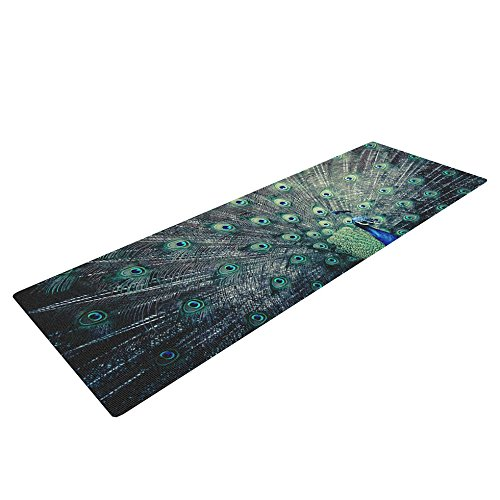 Kess InHouse Ann Barnes Majestic Yoga Exercise Mat, Peacock Feather, 72 x 24-Inch
