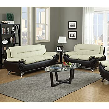 Charmant GTU Furniture Contemporary Bonded Leather Sofa U0026 Loveseat Set (Sofa And  Loveseat, Beige And