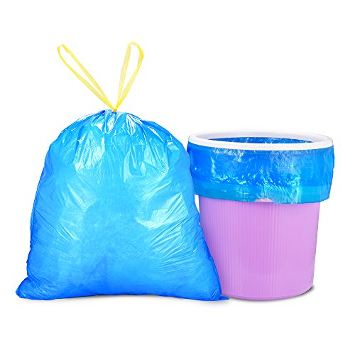 SlowTech Odor Block Small Trash Bags Fresh Clean Thicken Garbage Bags for Bathroom Kitchen Office Waste Bin/ Wastebasket, 4 Gallon 90 Count (Blue)