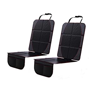 Wellkool Car Seat Protector for Baby Child 2 Pack Thick Padded Auto Seat Protector with 2 Storage Pocket, Waterproof Non-Slip Back Seat Cover Dog Mat Full Protection for Your Leather Seats