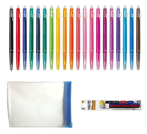 Pilot FriXion Ball Slim Retractable Erasable Gel Ink Pens, Extra Fine Point, 0.38 mm, 20 colors, Clear case and 3 color refills Value Set ()