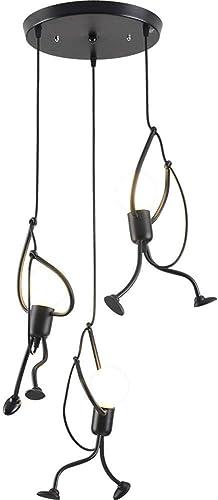 ANYE 3-Lights Modern Creative Style Black Iron Pendant Light E26 Lampholder for Bedroom Restaurant Home Chandelier Hanger Ceiling Fixtures Bulb Not Included TB1241