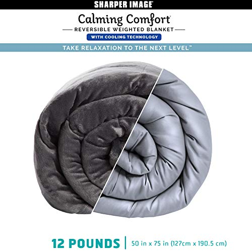 Cheap Calming Comfort Reversible Cooling Weighted Blanket by Sharper Image- Dual Sided Viscose Bamboo & Soft Velveteen for Hot & Cold Sleepers Heavy Blanket for Adults BPA-Free High Microbeads- 12 lbs Black Friday & Cyber Monday 2019