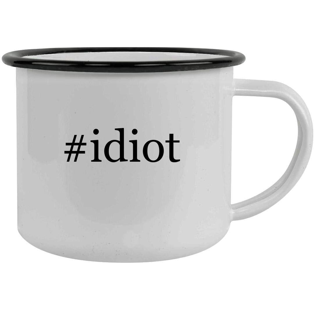 #idiot - 12oz Hashtag Stainless Steel Camping Mug, Black