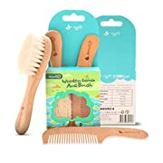Wooden Hair Brush and Comb Set for Newborns & Toddlers | Natural Soft Bristles for Cradle Cap | Wooden Bristles Massage Brush | Perfect Baby Registry Gift