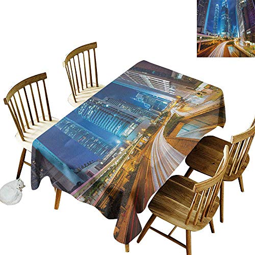 kangkaishi Iron-Free Anti-fouling Holiday Long Tablecloth Table decorationFast Moving Cars at Hong Kong Highways Modern Life Speed Traffic Nighttime in The City W52 x L70 Inch Multicolor