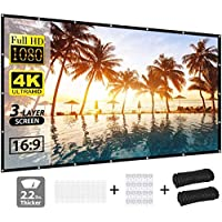 Projector Screen, vamvo 3-Layer Movie Screen pro, 120 inch 16:9 HD Anti-Crease Portable Projection Screen, Foldable…