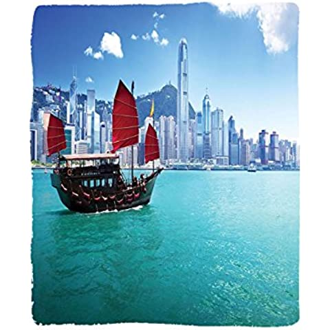 fc5314a242 VROSELV Custom Blanket Room Asian Ocean Hong Kong Harbour and Small Junk  Boat with Flag Picture Bedroom Living Kids Girls Boys R