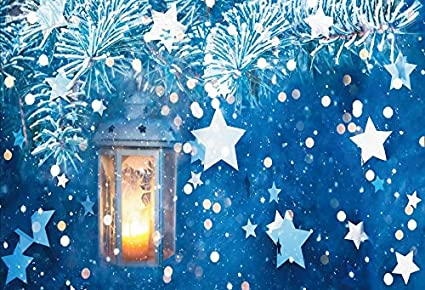 YongFoto 12x8ft Winter Scenery Backdrop Merry Christmas Branches Lantern Stars Bokeh Glitter Background for Photography Party Shoot Banner Portrait Photo Studio Props Wallpaper Decoration
