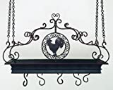 rooster pot rack - Antique Brown Rooster Iron Pot Rack