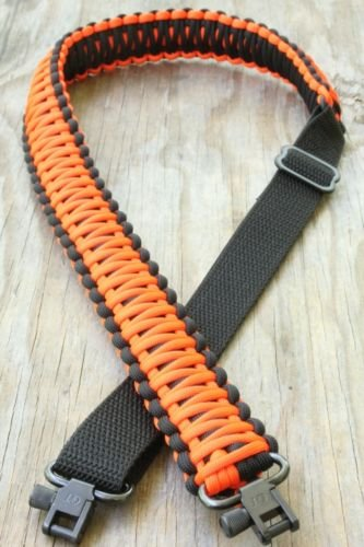 550 lb Paracord Survival 2 Point Gun/Rifle Sling (Black & Hunters (Black Hunters Point)