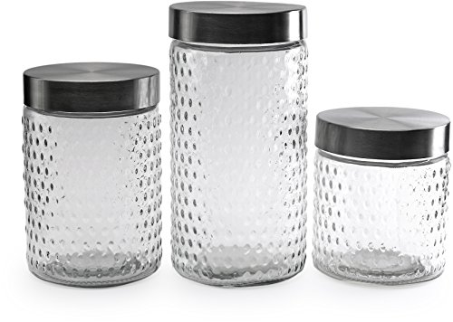 Circleware 68220 Flicker Set of 3 Hobnail Embossed Canisters (36oz/ 44oz/ 64oz) Home and Kitchen Utensils, Small-115oz./Medium-161oz./Large-210oz, Circleware