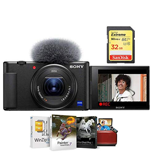Sony ZV-1 Compact 4K HD Camera - Free Bundle with 32GB SDHC U3 Memory Card, Mac Software Package