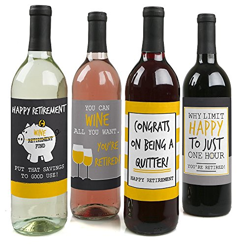Retirement Party - Gifts for Women and Men - Wine Bottle Label Stickers - Set of 4 (Ideas Retirement Basket)