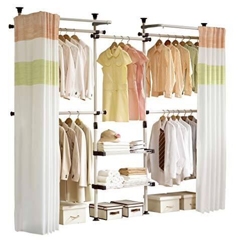 - PRINCE HANGER | Deluxe 4 Tier & Shelf Hanger with Curtain | Clothing Rack | Closet Organizer | PHUS-0061