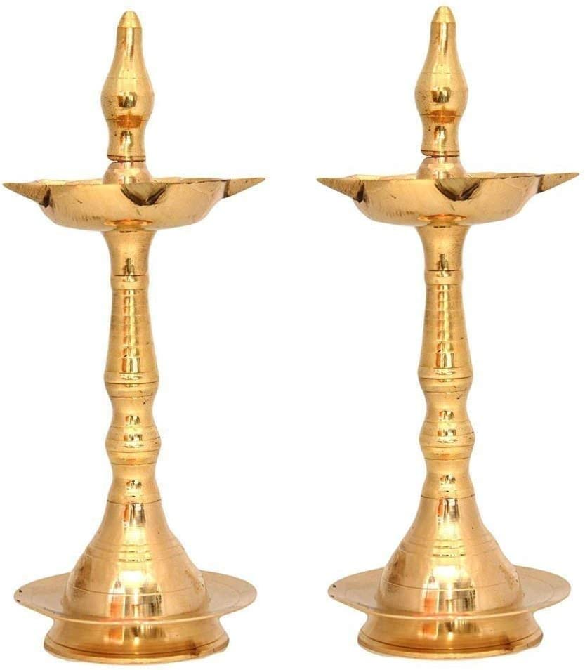 NOBILITY Kerala Traditional Brass Diya Lamp Set of 02