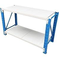 200x90x60cm Steel Garage Work Bench Shelves Workshop Workbench Racks Workbenches (Blue + Grey)