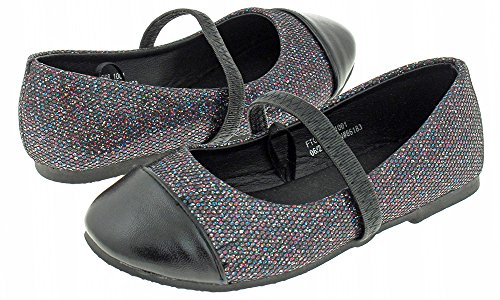 Capelli New York Toddler Girl's Glitter Faux Leather Flat with Metallic Toe Black Combo 5
