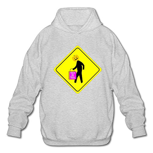 Personalized Designer Thin Halloween Caution Men's Adult Long Sleeves Hoodie Sweatshirt Pullover Cotton Ash Size L