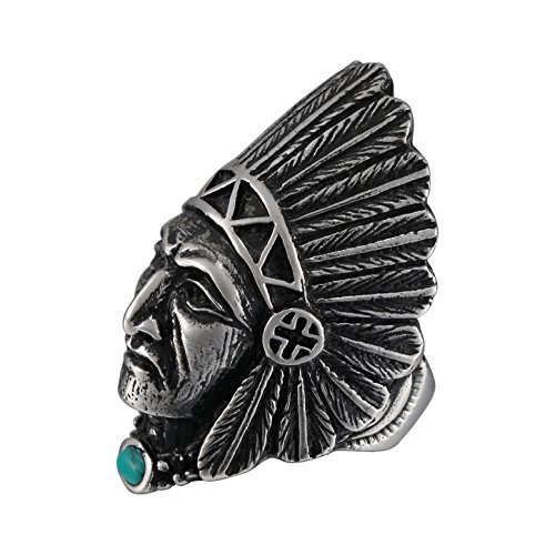 Men's Stainless Steel Vintage Tribal leader Native American Indian Chief Head Ring with Feather Turquoise Inlaid (8)