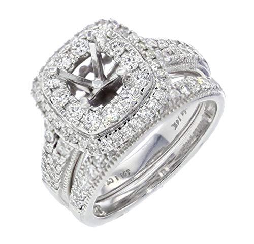 (14K White Gold Bridal Set Semi Mount 1.00ctw Diamond Ring Setting Double Halo)