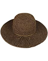 MERSUII Woman Ladies Bohemia Straw Hat Wide Brim Roll-up Sun Visor Hand Crocheted for Holiday Travel