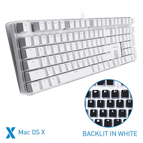 Macally Backlit Mechanical Keyboard for Mac - USB Wired Full Size - Compatible with Apple Mac Mini, Mac Pro, iMac, iMac Pro, MacBook Pro Air - Brown Switches (Best Full Size Mechanical Keyboard)