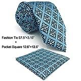 SHLAX&WING Designer Necktie for Men Slate Blue Checkered Tie Set