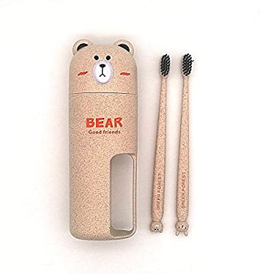DREAMER Travel Toothpaste Storage Organizer with 2 Toothbrushes Eco-friendly Wheat Straw Teethbrush Cup Bear Shape Toiletry Kit