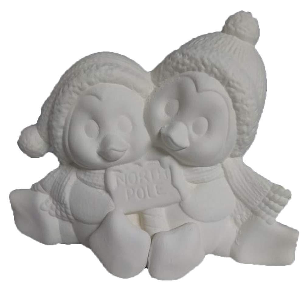 Penguin Cuddle Couple 7'' w Ceramic Bisque, Ready to Paint