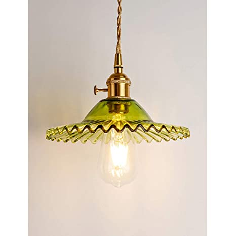 fe12064509407 Phwii Hanging Pendant Lighting Fixture Green Glass Shade with Brass Finish  Height Adjustable Vintage Modern One-Light Ceiling Lamp