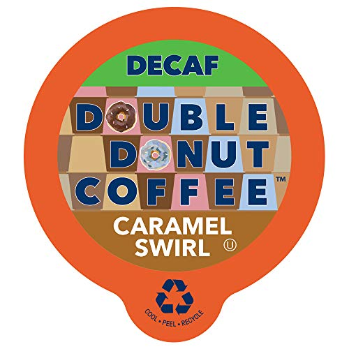 (Double Donut Flavored Coffee, Decaf Caramel Swirl, Recyclable Single Serve Cups for Keurig K Cup Machines, 24 count)