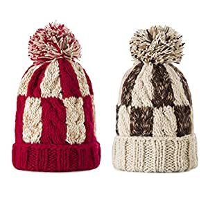 Kids Winter Warm Fleece Lined Hat, Baby Toddler Children's Beanie Pom Pom Knit Cap for Girls and Boys by REDESS (Two Pack Mix Two Color- Cream White & Brown, Red & Cream White)