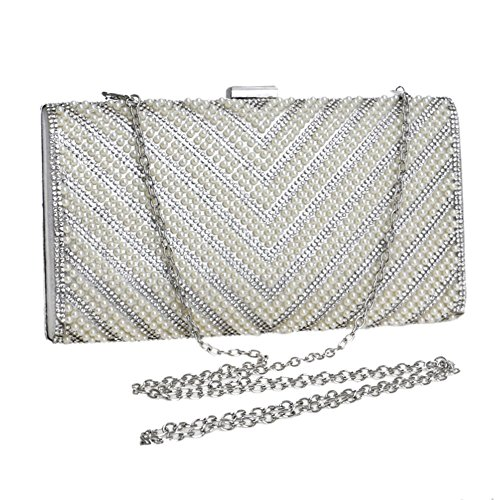 For Bag Wedding Purse Dinner Bag Party Beaded Women Women's Evening Silvery Crystal Hand Clutch Pearl And qgEvzwBv