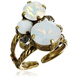 """Sorrelli """"Pearl Luster"""" Crystal Assorted Rounds Ring, Size 7-9"""