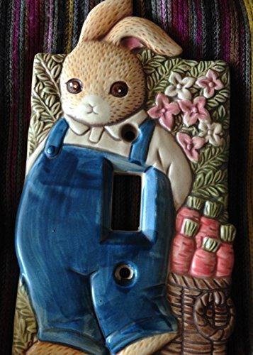 - Vintage Takahashi - Boy Bunny Rabbit Light Switch Plate - Ceramic Japan 7