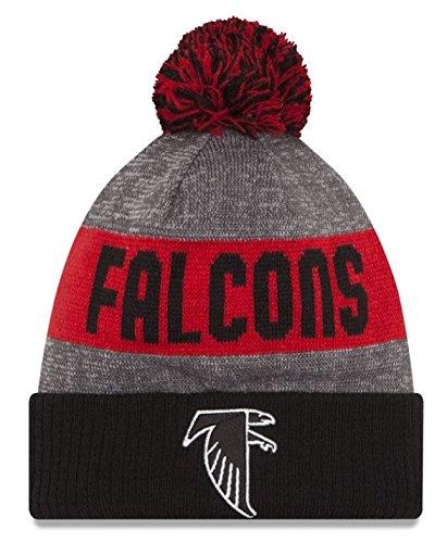 New Era Knit Atlanta Falcons Black On Field Sideline Sport Knit Winter Stocking Beanie Pom Hat Cap 2015 Atlanta Falcons Black Official Sideline