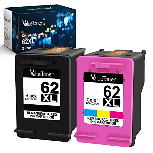 Valuetoner Remanufactured Ink Cartridge Replacement for HP 62XL 62 XL to use with Envy 5540 5640 5660 7644 7645 OfficeJet 5740 8040 OfficeJet 200 250 Series Printer (1 Black, 1 Tri-Color, 2-Pack) (Printer 5745 Envy Hp)