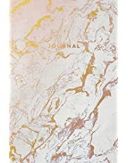 Journal: Beautiful White and Rose Marble with Gold Inlay - Marble & Gold Journal | 120 College-ruled Pages | 6 x 9 Size