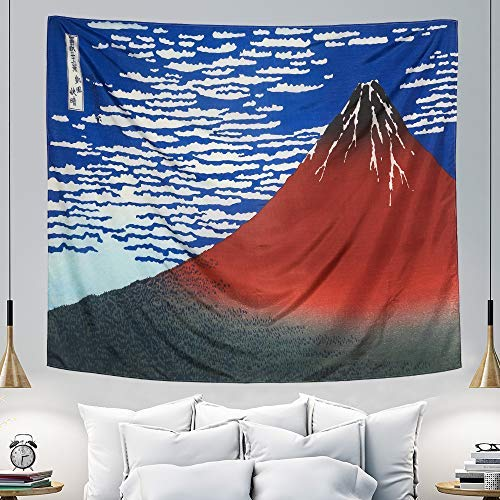 IcosaMro Mount Fuji Tapestry Wall Hanging- Hokusai Art Wall Tapestries [51x60][Double-folded Hems]-Small Mountain Blanket, Use in Bedroom, Dorm, College, Living Room (Blue & Red)