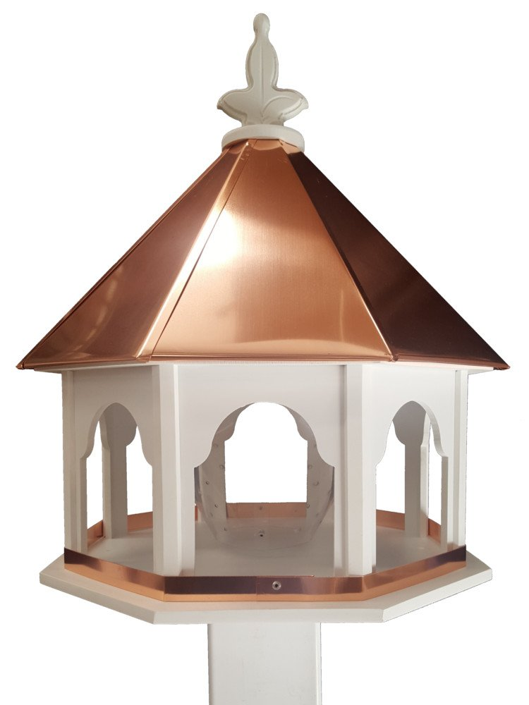 Large Octagon Wild Bird Feeder Solid Cellular PVC Clear Copper Roof Made In the USA