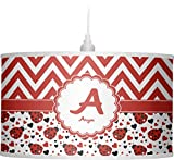 RNK Shops Ladybugs & Chevron Drum Pendant Lamp Linen (Personalized)