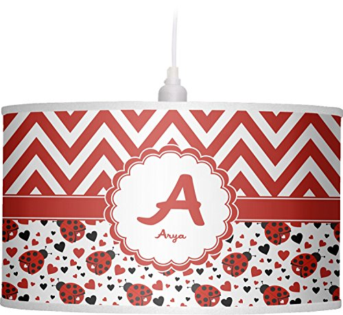 RNK Shops Ladybugs & Chevron Drum Pendant Lamp Linen (Personalized) by RNK Shops