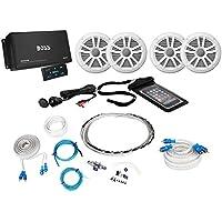 Boss ASK904B.64 4-Channel 500W Marine Amplifier W/Bluetooth+(4) Speakers+Amp Kit