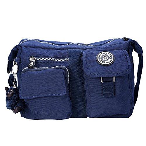 Bolso de hombro para Mujer de Nylon Impermeable Bolsa de hombro con bolsillos grandes, ligera, resistente al agua,Múltiples bolsillos-Azul Azul