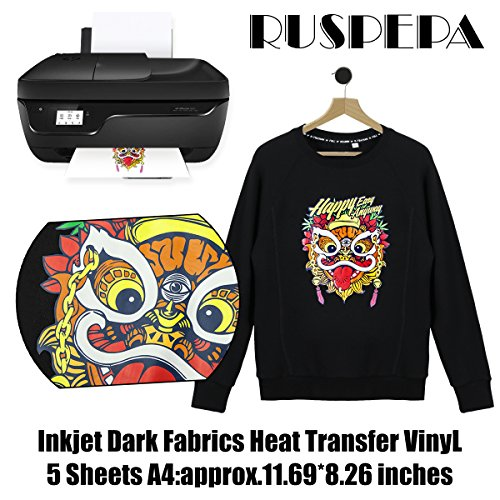 RUSPEPA 11.69 x 8.26 inches Inkjet Iron-on Black or Dark Fabric T-Shirt Transfers, Inkjet Printable Transfer Paper, A4 Sheets 5 Sheets