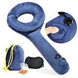 Inflatable Travel Pillow, Angel Love Q-Shape Push-Button Soft Velvet Travel Pillow with Ear Plugs, Eye Mask and Carrying Bag, Design for Airplane, Commute Transportation or Office Napping (Blue)