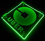 Uber Logo LED Lit Sign Rideshare Car Sign AA batteries HELPING THE ENVIRONMENT (Green)